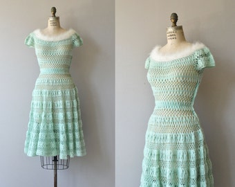 Chambonné knit dress | vintage 1950s dress | wool 50s knit dress