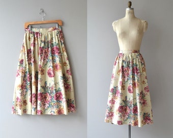 Cottage Rose skirt | vintage 80s floral skirt | cotton floral print skirt