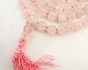 Genuine Rose Quartz Hand-knotted Mala 7.2mm Prayer Beads