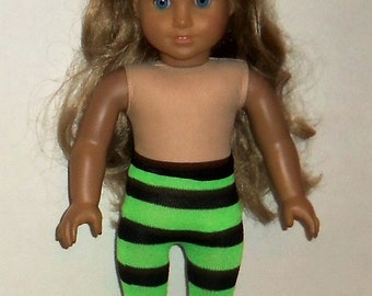 Striped Doll Tights, Black Green, 18 inch Doll, Halloween Costume, American Made, Girl Doll Clothes