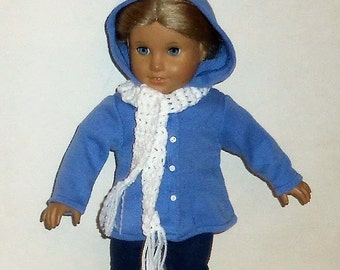 Light Blue, Hooded Sweater, 18 Inch Doll, Crochet Scarf, American Made, Girl Doll Clothes, Winter Wear, Hooded Jacket