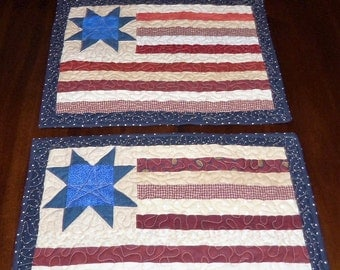 Quilted, Flag Placemats, Handmade Mats, Americana Patriotic, 13x17 inches, Set of Two, Dining Table Decor, Table Topper, Machine Quilted