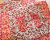 Quilted Table Runner , Tula Pink , Modern Table Runner , Blue Pink And Orange