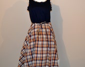 Vintage Tank Dress with Plaid Full Skirt 1970's