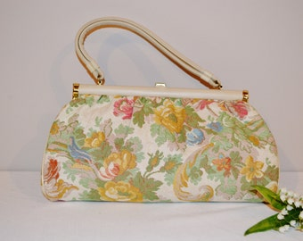Vintage Purse Shabby Cottage Floral with Ivory