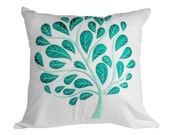 White Teal Floral Throw Pillow Cover, White Linen Teal Peacock, Embroidered Cushion Cover, Accent Pillow, Couch Pillow Cover, Pillow Sham