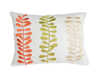 Lumbar Pillow Cover, Decorative Pillow Cover, White Linen Pillow Orange Green Beige Leaves Embroidery, Accent Pillow, Couch Pillow, Cushion