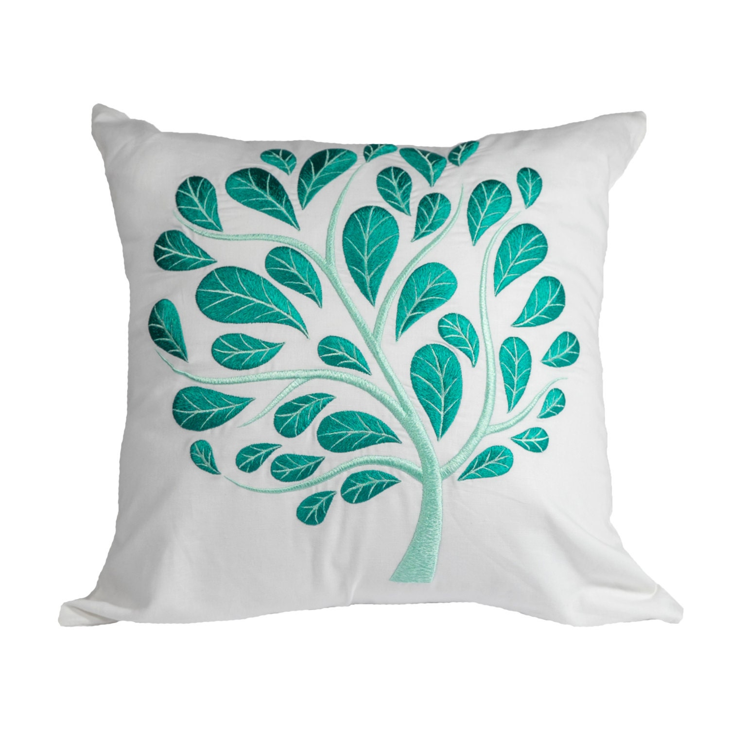 White Teal Floral Throw Pillow Cover White Linen Teal