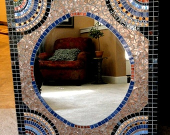 Extra Large Custom Mosaic Mirror Vanity Size Rectangle Brown Blue and Gold//Mosaic Bathroom Mirror//Home Decor//Wall Decor//Mixed Media Art