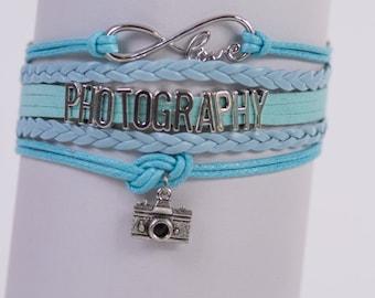 Photography photographer Camera Handmade Infinity style Bracelet