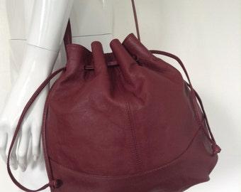 VTG OXBLOOD Drawstring Bag//Genuine LEATHER