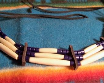 Hair Pipe Choker bone hair pipe blue tile beads