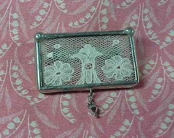 Vintage Framed Lace memory Brooch pin