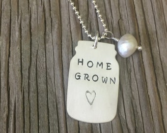 Hand stamped mason jar pendant necklace in sterling silver home grown handmade jewelry gift for her