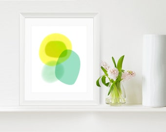 Minimalist Art Print, Abstract Water Color, Teal, Large Art Prints
