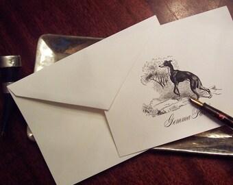 Personalized Greyhound ,Whippet Dog , Monogrammed Note Cards Stationery,  Black Ivory Set 10 Sighthound, Vintage Inspired Notecards Hound