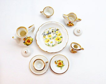 Vintage Miniature Small Tea Set , 1979's Enesco Doll Tea Set Yellow Pansies , Tea for Two Thought of You , fine porcelain Blythe doll scale