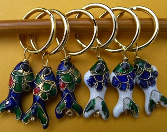 Stitch markers for knitting or crochetting work,  6 pcs, made  cloisonne beads - fish, blue and white