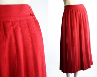 Theo Brand Vintage Ladies' Midi Length Red Wool Pleated Skirt