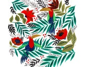 Exotic Birds Art Print 10x8