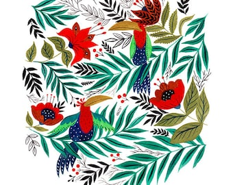 Exotic Birds Art Print 10x8