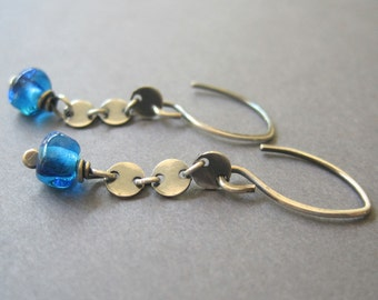 Colbolt Blue Earrings, Lampwork Glass Earrings, Blue Drop Earrings, Silver Chain Earrings, Handmade Silver Dangle Earrings