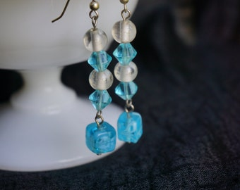 White and Teal Drop Earrings