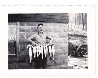 vintage Photo Outdoors Man Holds Line of Fish Fishing 1930s snapshot