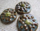 Classic Bead Button Box Zinnia Pendant, Art Bead, Handcrafted Bead, Ceramic Bead,