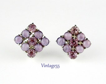 Earrings  Rhinestone Lavender Pink Satin Glass