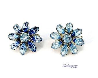 Earrings Blue Rhinestone Flower clip on