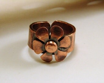 Copper Oxidized Flower Ring - any size
