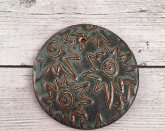 SALE Priced Handmade Ceramic Pendant Star Spiral Texture Blue Brown Autumn Glaze