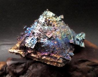 CRYSTAL PYRAMID - Bismuth Crystal -Brilliant Iridescent Crystal Covered Bismuth Pyramid Sculpture   py102