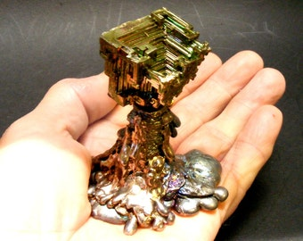 COSMIC CASCADE - Brilliant Iridescent  Fractal Sculpture with Custom Pedestal - Pure Bismuth sc114