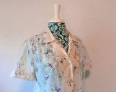 vintage 1970's blouse // bohemian gauze shirt // 1970's weekend  top