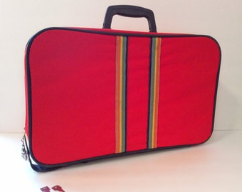 vintage 1960's luggage // red rainbow suitcase // dayglo yellow blue orange stripe