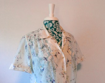 vintage 1970's blouse // bohemian gauze shirt // 1970's weekend  top