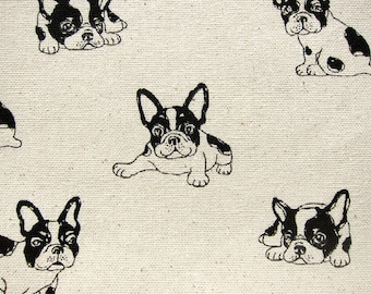 Animal Print Fabric - French Bulldogs on Natural - Cotton Linen Blend Fabric By The Yard - Half Yard
