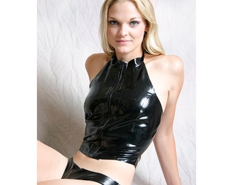 Latex Zip Front Halter Top, made to order in a variety of sizes and colors, very sexy