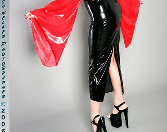Latex Hobble Skirt with optional back zipper or walking slit, made to order.