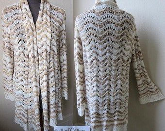 """Exquisite """"Ball of Cotton"""" Hand Crochet Drape Front Cardigan Sweater Jacket"""
