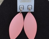 On Sale Pretty Vintage Candy Pink Metal Dangle Post Pierced Earrings, Silver tone (M12)