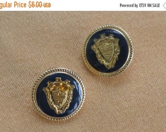 On sale Pretty Vintage Navy Blue Crest Buttons, Gold tone, Supplies, Crafts, Upcycle Destash