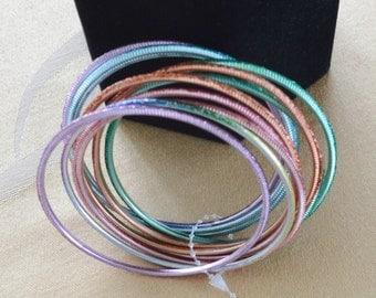 Pretty Vintage Sparkly Multi-Colored Pastel Metal Bangle Bracelets (11)