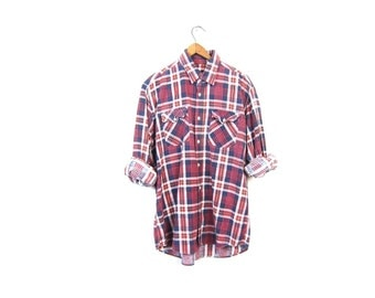 80s Plaid Flannel Shirt Red Grunge Boyfriend Shirt Oversized Button Up Hipster Worn In Mens Faded Blue White Flannel Shirt Vintage Large