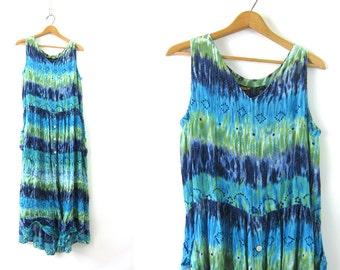 Hippie Tie Dye Dress Long Blue & Green 90s Festival Maxi Dress Oversized Button Front Crinkle Sundress Boho Chic Women's Sun Dress Medium