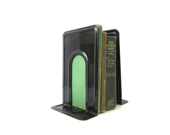 Vintage industrial black metal Bookends Library Book Decor Highsmith Book Ends Tall Metal Retro Shelving Decor