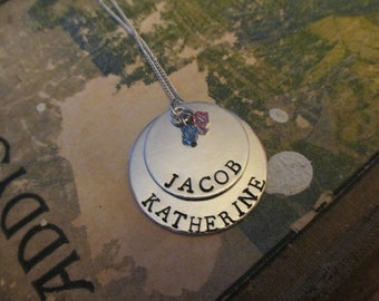 The Nina Necklace - Custom Hand Stamped 2 Tier Necklace - Large