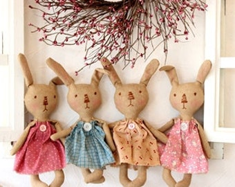 Diy easter decor gift ideas etsy primitive grungy bunnies doll pattern easter bunny pattern primitive doll pattern printed pattern negle Images